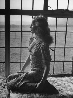 Actress Peggy Cummins Looking Out of a Window by Bob Landry