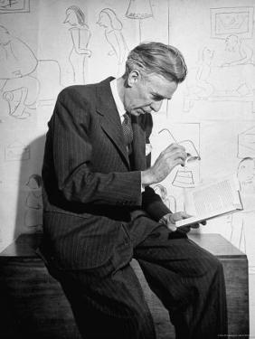 Cartoonist James Thurber Posing with His Work by Bob Landry