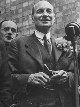 Next Prime Minister Clement Attlee, Greeting Newsreel Personnel by Bob Landry