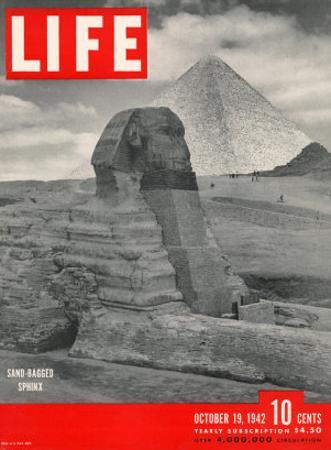 Sand-bagged Sphinx, Wartime Worries over Things of Antiquity, October 19, 1942 by Bob Landry