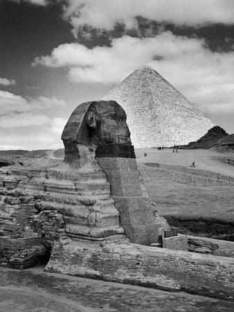 Sandbags Being Used to Protect Sphinx Against Enemy Bombs, Giza, Egypt, 1942