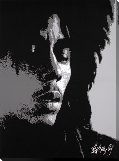Bob Marley: Eyes Closed in Black & White--Gallery Wrapped Canvas