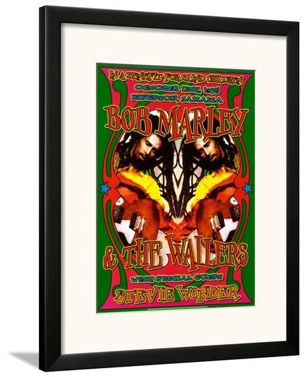 Bob Marley & Stevie Wonder-Dennis Loren-Framed Art Print