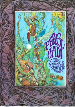 Pearl Jam concert poster, Seattle WA by Bob Masse