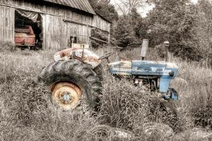 Blue Tractor BW by Bob Rouse