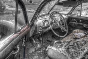 Front Seat BW by Bob Rouse