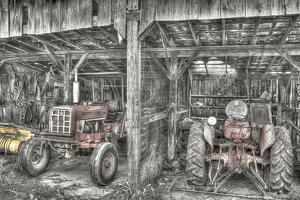 Two Red Tractors BW by Bob Rouse