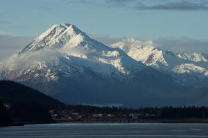 A Scenic View of the Snowy Chilkat Range and the Town of Haines Below, on the Coast by Bob Smith