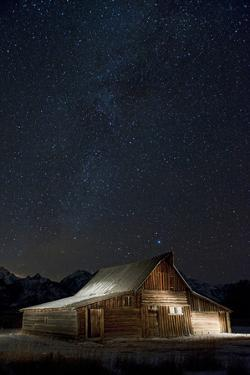 Light Painting of Old Barn on Mormon Row under a Star-Filled Sky by Bob Smith