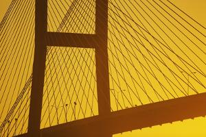 Bridge with Cables in Orange Hues by Bob Stefko