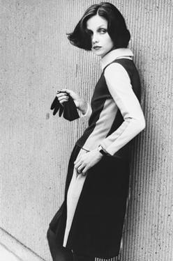 Model Wearing a Striped Two-Piece Dress by Rudi Gernreich by Bob Stone