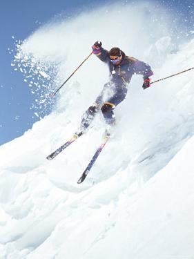 Alpine Skiing, Downhill Skier Blasting a Cornice by Bob Winsett