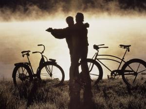Mature Couple Dancing Near Bicycles, CO by Bob Winsett
