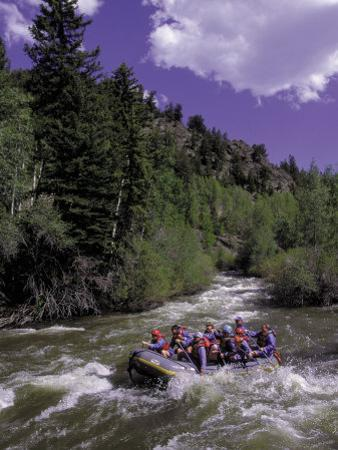 People Rafting in Blue River North of Silverthorne, CO