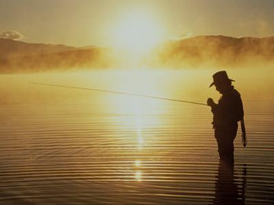 Silhouetted Fly Fisherman, Dillon Reservoir