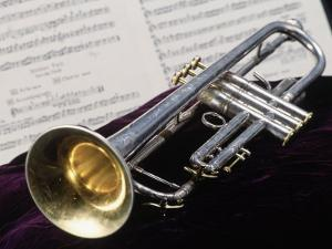 Silver Trumpet with Music Sheet by Bob Winsett