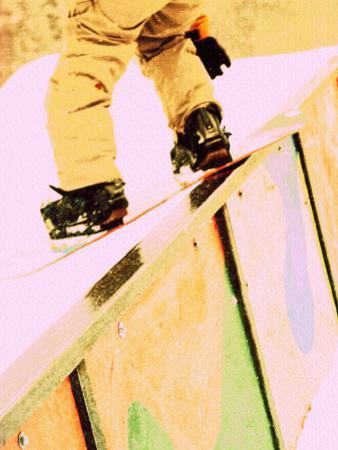 Snowboarder Skittering on a Rail by Bob Winsett