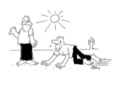 Marooned man crawling across desert comes upon other marooned man who's hi… - Cartoon