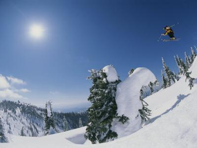 A Skier Catches Some Big Air on the Big Mountain