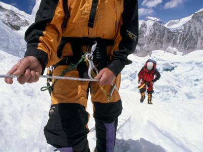 Climbing the Khumbu Ice Fall of Mount Everest