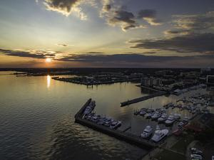 Aerial Photo of Downtown Pensacola, FL at Sunset. by Bobby R Lee