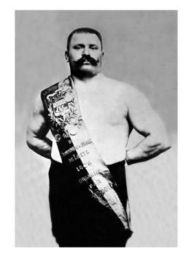 Bodybuilder Wearing Bandolier of Victory