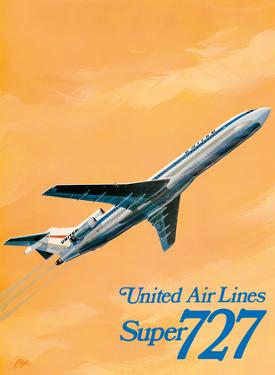 Boeing Super 727 Jet Airplane - United Airlines by C Bail