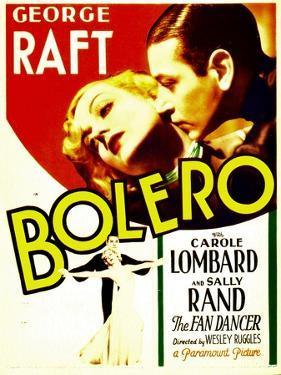 Bolero, Carole Lombard, George Raft on midget window card, 1934