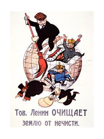 Bolshevik Poster Depicting Lenin Sweeping Away Emperors, Clergy and Capitalists, 1917