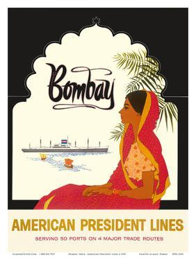 Bombay Mumbai India, Indian Woman in Red Sari, American President Lines