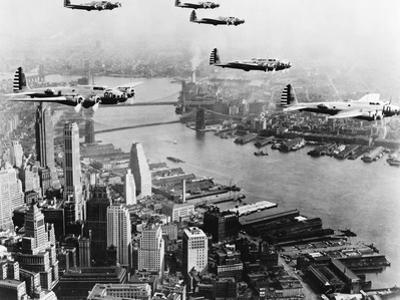 Bombers Flying in Formation over the Hudson River