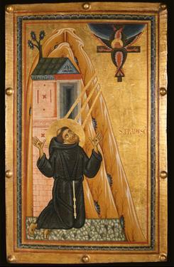 St. Francis Receives the Stigmata, Mid-13th Century (Tempera on Wood) by Bonaventura Berlinghieri
