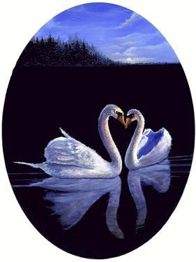 Oval Kissing Swans by Bonnie B. Cook