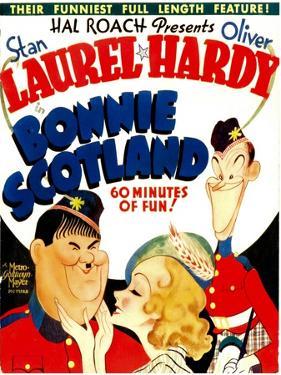Bonnie Scotland, Oliver Hardy, June Lang, Stan Laurel on Window Card, 1935