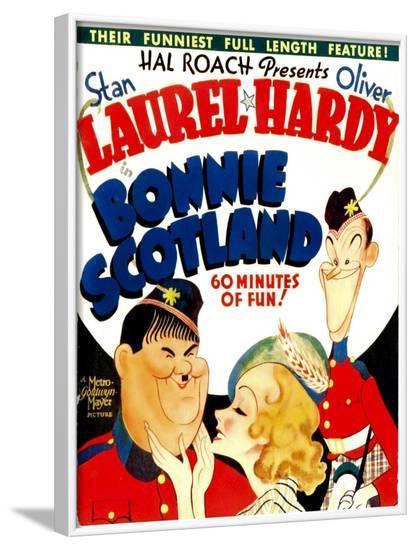 Bonnie Scotland, Oliver Hardy, June Lang, Stan Laurel on Window Card, 1935--Framed Photo