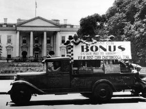 Bonus Army Veterans from Chattanooga, Parade Past White House in a Truck, May 18, 1932