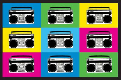 Boombox Stereos 2 Pop Plastic Sign
