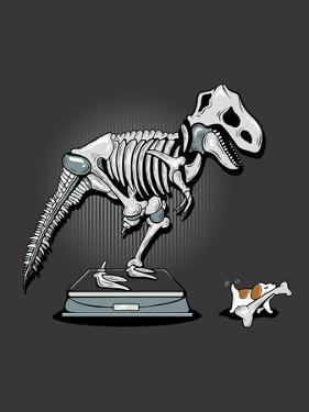 Mine! - Cute Dog and Dinosaur by Boots