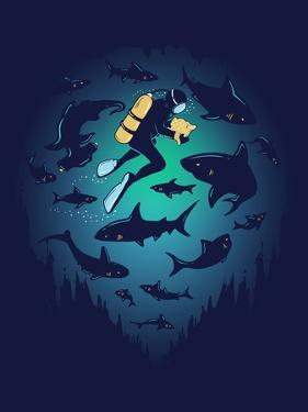 Screwed - Funny Shark and Diver by Boots