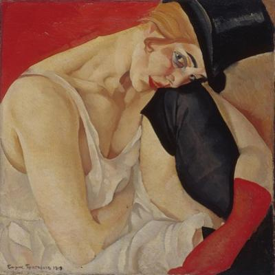 Lady in Top Hat, 1919 by Boris Dmitryevich Grigoriev