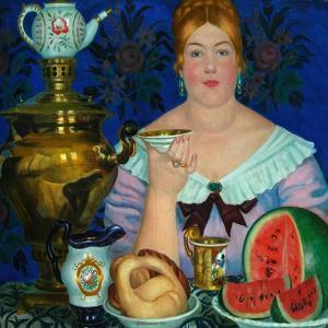 The Merchant's Wife Drinking Tea, 1923 by Boris Michaylovich Kustodiev