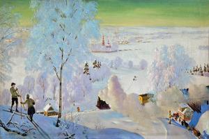 Skiers, 1919 by Boris Mikhailovich Kustodiev