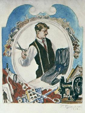 The Tailor, 1918 by Boris Mikhajlovich Kustodiev