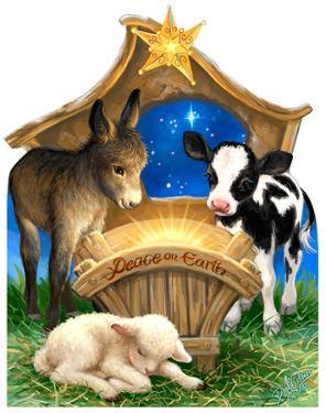 Born In A Manger - Dona Gelsinger Art Lifesize Standup