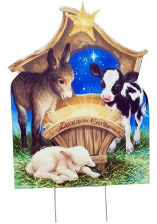 Born in a Manger Outdoor with Yard Stake