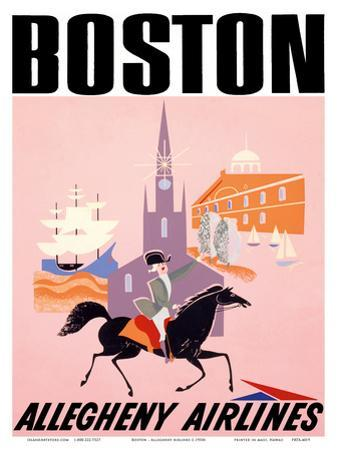 Boston - Allegheny Airlines - Mayflower Ship and Faneuil Hall
