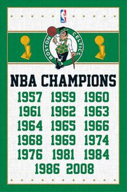 Boston Celtics NBA Champions Sports Poster