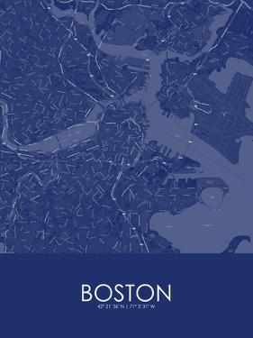 Boston, United States of America Blue Map