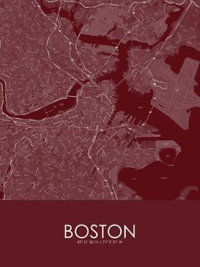Boston, United States of America Red Map