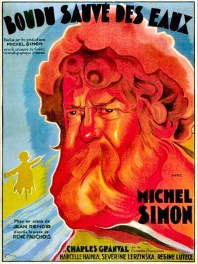Boudu Saved From Drowning, (aka Boudu Sauve des Eaux), Michel Simon, French poster art, 1932
